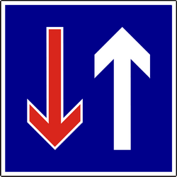 Traffic sign of Hungary: Road narrowing, oncoming drivers have to give way