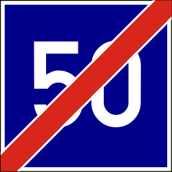 Traffic sign of Hungary: End of the recommended speed