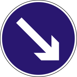 Traffic sign of Hungary: Passing right mandatory