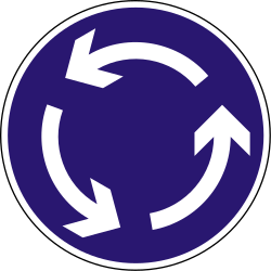 Traffic sign of Hungary: Mandatory direction of the roundabout
