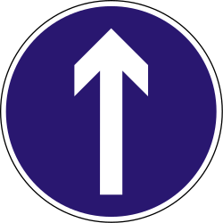 Traffic sign of Hungary: Driving straight ahead mandatory