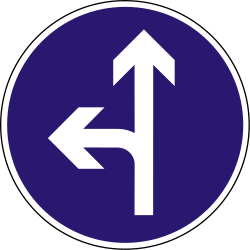 Traffic sign of Hungary: Driving straight ahead or turning left mandatory