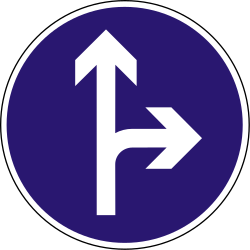 Traffic sign of Hungary: Driving straight ahead or turning right mandatory