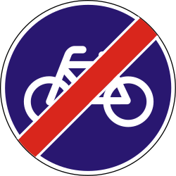 Traffic sign of Hungary: End of the path for cyclists