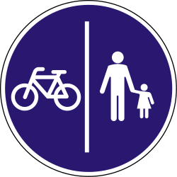 Traffic sign of Hungary: Mandatory divided path for pedestrians and cyclists