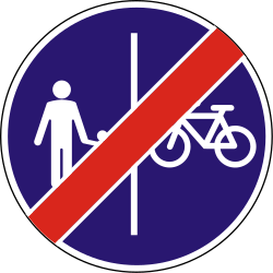 Traffic sign of Hungary: End of the divided path for pedestrians and cyclists