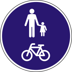 Traffic sign of Hungary: Mandatory shared path for pedestrians and cyclists