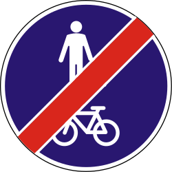 Traffic sign of Hungary: End of the shared path for pedestrians and cyclists