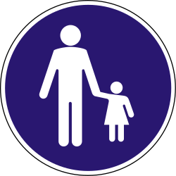 Traffic sign of Hungary: Mandatory path for pedestrians