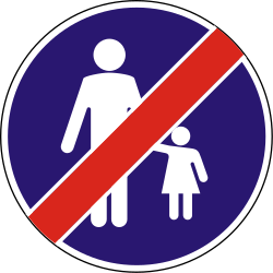 Traffic sign of Hungary: End of the path for pedestrians