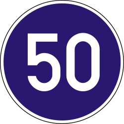 Traffic sign of Hungary: Driving faster than indicated mandatory (minimum speed)