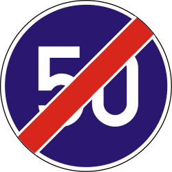 Traffic sign of Hungary: End of the minimum speed