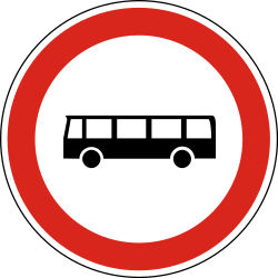 Traffic sign of Hungary: Buses prohibited