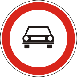 Traffic sign of Hungary: Cars prohibited
