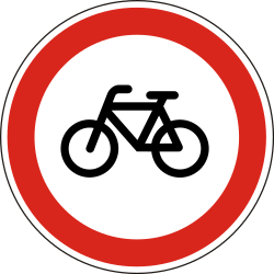 Traffic sign of Hungary: Cyclists prohibited