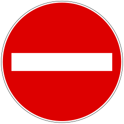 Traffic sign of Hungary: Entry prohibited (road with one-way traffic)