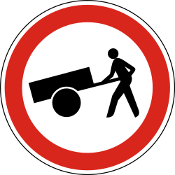 Traffic sign of Hungary: Handcarts prohibited