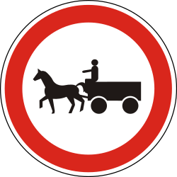 Traffic sign of Hungary: Horse carts prohibited