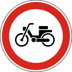 Traffic sign of Hungary: Mopeds prohibited