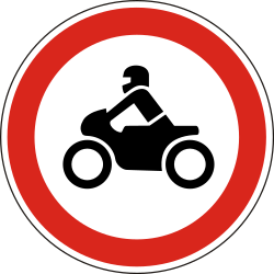 Traffic sign of Hungary: Motorcycles prohibited