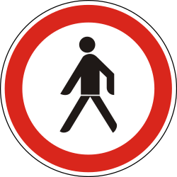 Traffic sign of Hungary: Pedestrians prohibited