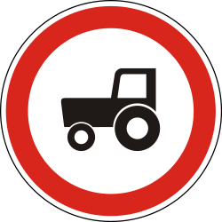 Traffic sign of Hungary: Tractors prohibited