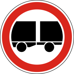 Traffic sign of Hungary: Trucks with trailer prohibited