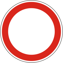 Traffic sign of Hungary: Entry prohibited