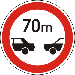 Traffic sign of Hungary: Leaving less distance than indicated prohibited