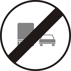 Traffic sign of Hungary: End of the overtaking prohibition for trucks