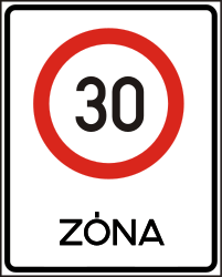 Traffic sign of Hungary: Begin of a zone with speed limit
