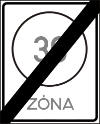 Traffic sign of Hungary: End of the zone with speed limit