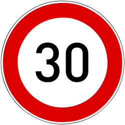 Traffic sign of Hungary: Driving faster than indicated prohibited (speed limit)
