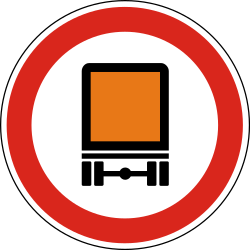 Traffic sign of Hungary: Vehicles with dangerous goods prohibited