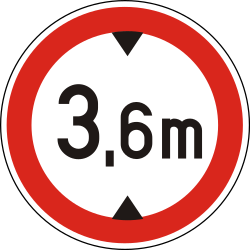 Traffic sign of Hungary: Vehicles higher than indicated prohibited