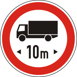 Traffic sign of Hungary: Vehicles longer than indicated prohibited