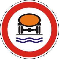 Traffic sign of Hungary: Vehicles with polluted fluids prohibited