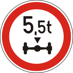 Traffic sign of Hungary: Vehicles with an axle weight heavier than indicated prohibited
