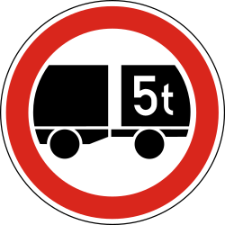 Traffic sign of Hungary: Trailers heavier than indicated prohibited