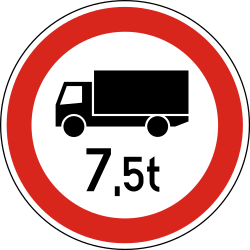 Traffic sign of Hungary: Trucks heavier than indicated prohibited