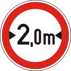 Traffic sign of Hungary: Vehicles wider than indicated prohibited