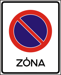 Traffic sign of Hungary: Begin of zone where parking is prohibited