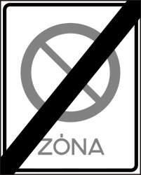 Traffic sign of Hungary: End of the zone where parking is prohibited
