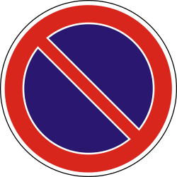 Traffic sign of Hungary: Parking prohibited