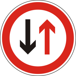 Traffic sign of Hungary: Road narrowing, give way to oncoming drivers