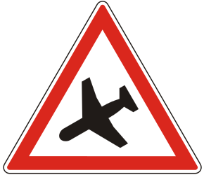 Traffic sign of Hungary: Warning for low-flying aircrafts