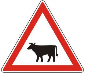 Traffic sign of Hungary: Warning for cattle on the road