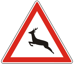 Traffic sign of Hungary: Warning for crossing deer