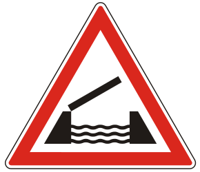 Traffic sign of Hungary: Warning for a movable bridge
