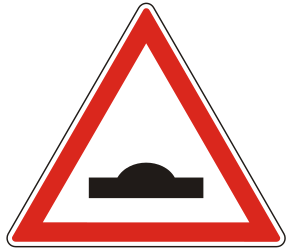 Traffic sign of Hungary: Warning for a speed bump